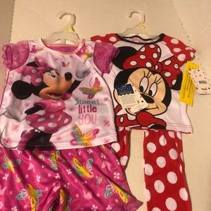 New With Tags Disney Minnie Mouse Girls Pajamas 3T